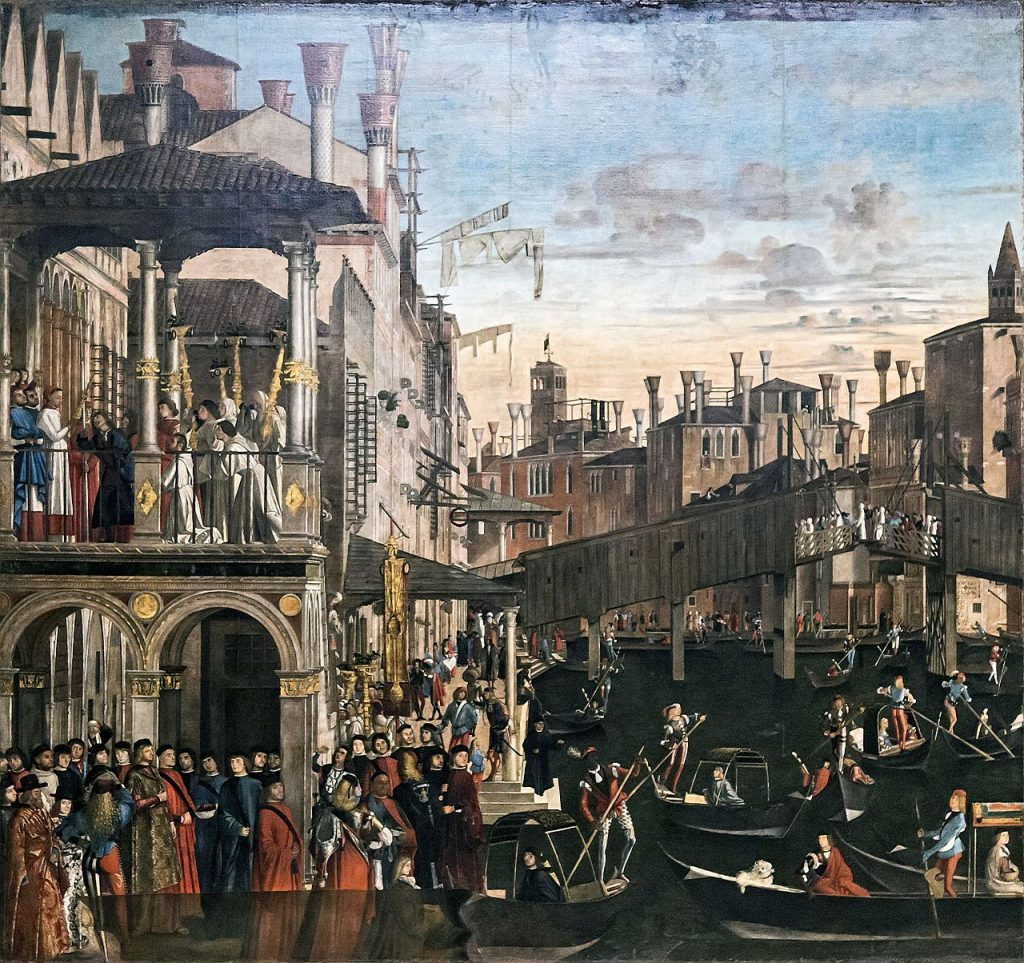 Wooden Rialto Bridge, Vittore Carpaccio - Venice Dell'Accademia Gallery